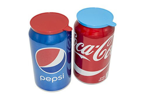 Soda Pop Tops - 12 Pack Can Lid Covers, Assorted (Red, White, Blue, Green) -