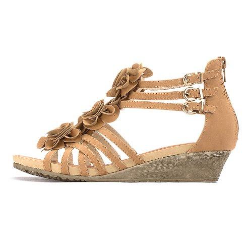 Alexis Leroy Flower Peep Toe Mid Heel Strappy Gladiator Roman Wedge Sandals Camel MwtOgV