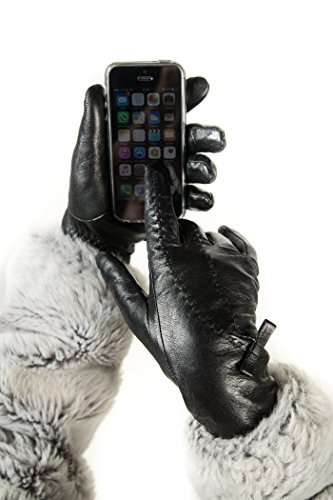 Luxury Leather Gloves For Women, Touchscreen Cold Weather Long Sleeve Gloves - Bow Design - With Thinsulate Liner - Black - Large (Purpose Fleece Gloves)