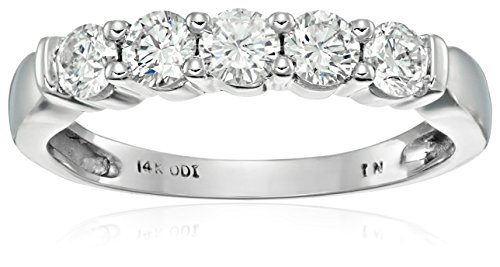 14k White Gold 5-Stone Diamond Anniversary Band (1/2 cttw, H-I Color, I2-I3 Clarity), Size - Five Gold 14k Stone