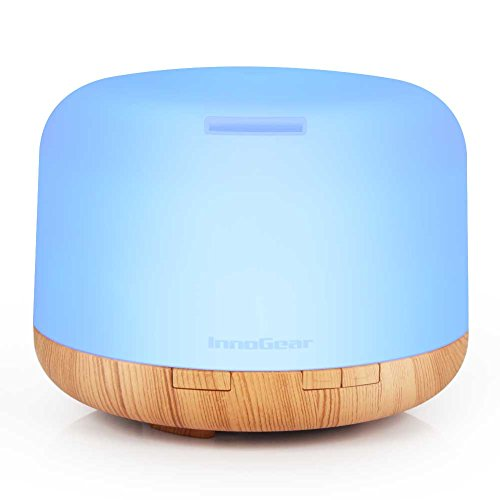 InnoGear 500ml Aromatherapy Essential Oil Diffuser Cool Mist Humidifier Waterless Auto Shut-off with 4 Timers and 7 LED Color Changing Lights (Yellow)