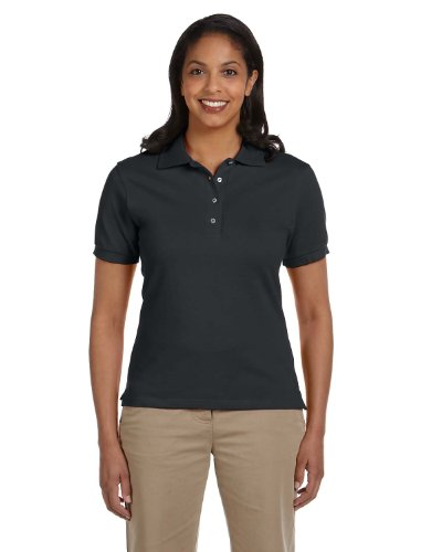 Polo Black Label (Jerzees Womens Cotton Pique Polo (440W) -BLACK -S)