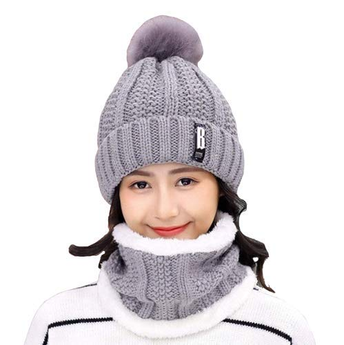 Winter knitted Beanies Hats for Women Thick Warm Beanie Caps Outdoor Riding Sets