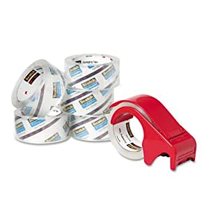 Scotch Packaging Tape, 1.88 Inches x 54.6 Yards, 6 Rolls of Tape and DP300-RD Dispenser (3850-6BD)