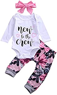 Newborn Baby Girl Clothes New to The Crew Romper Long Sleeve Tops Floral Bow Tie Pants Headband Outfits Set (P