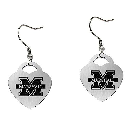 (Marshall University Thundering Herd Satin Finish Large Stainless Steel Heart Charm Earrings - See Model for Size)