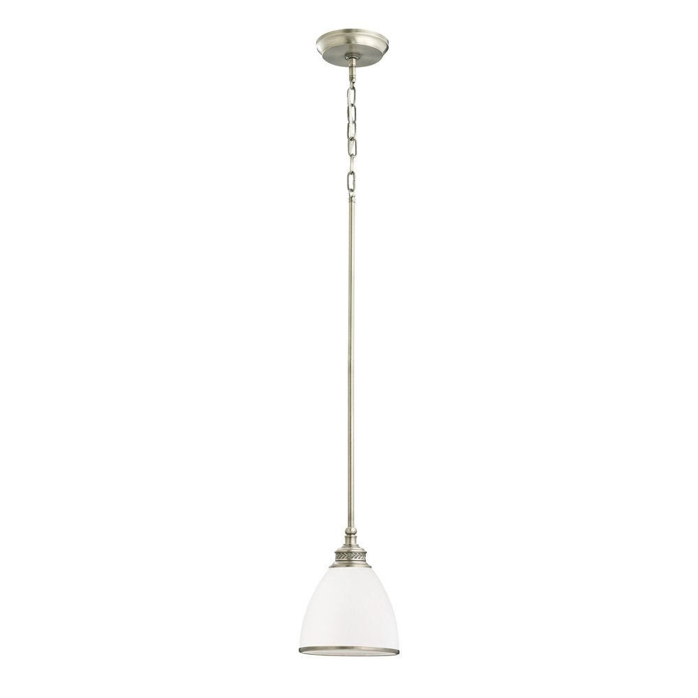 Sea Gull Lighting 61350-965 Laurel Leaf One-Light Mini-Pendant with Etched Ripple Glass Shade, Antique Brushed Nickel Finish