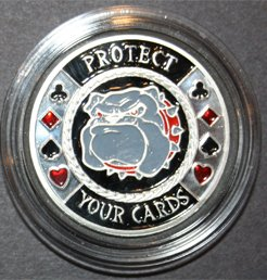 MRC Poker Hand Painted Poker Card Guard Protector - Protect your Cards Silver