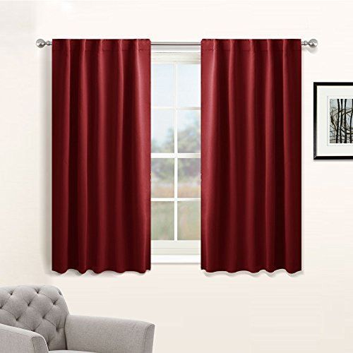 Blackout Curtain Panels Home Decoration - Modern and Elegant Back Tab Rod Pocket Curtains Room Darkening Energy Saving Draperies for Bedroom by PONY DANCE, 42 x 45 Inch, Red, One Pair (Bedroom 1)