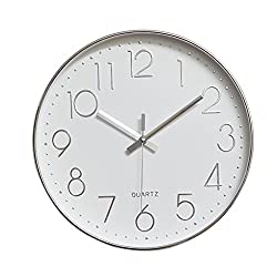 JOMPARIS Modern 12 Battery Operated Silent & Non-ticking Wall Clock,Plastic Frame Glass Cover (Silver,Arabic Numeral)