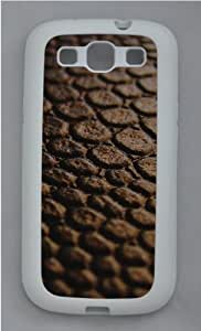 Brown leather Custom Samsung Galaxy S3 Case Cover - TPU Silicone - White