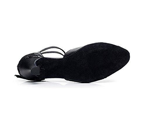 Zapatos Seda Mujeres Latino Alto Baile De Baile Piel Amistad Blando Zapatos Negro Fondo WYMNAME De Tacón YqIdwY5