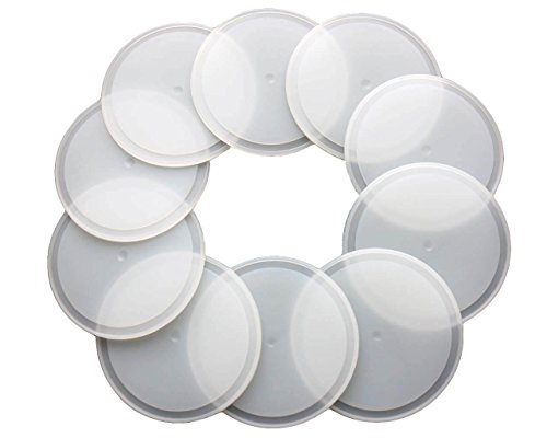 Stainless Plastic Liner - Leak Proof Platinum Silicone Sealing Lid Inserts/Liners for Mason Jars (10 Pack, Wide Mouth)
