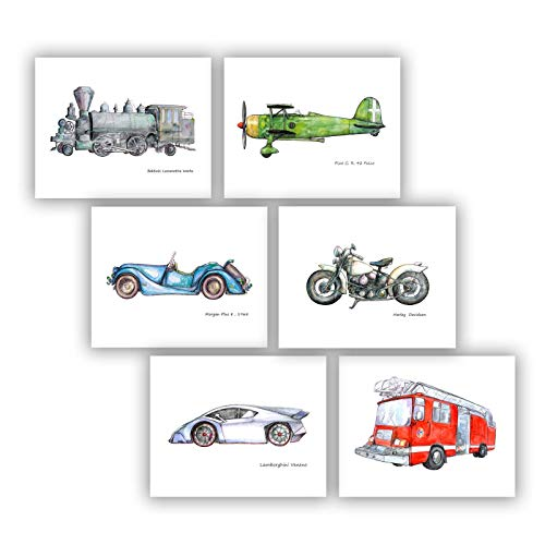 Fire truck Motorcycle Car Train Airplane Set 6 prints 8x10 Nursery decor