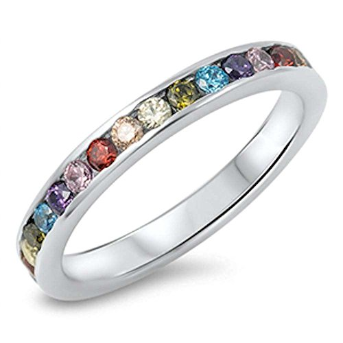 Multicolor Simulated Gemstones Eternity Band .925 Sterling Silver Ring Size 10
