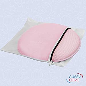 CubbyCove Baby Pillow for Newborn Infants 0-12–Crib and Lounger Pillow for Head Neck Support–Helps with Head Shaping and Flat Head–Super Breathable Plush Tencel–Great for Travel (Rose Pink)