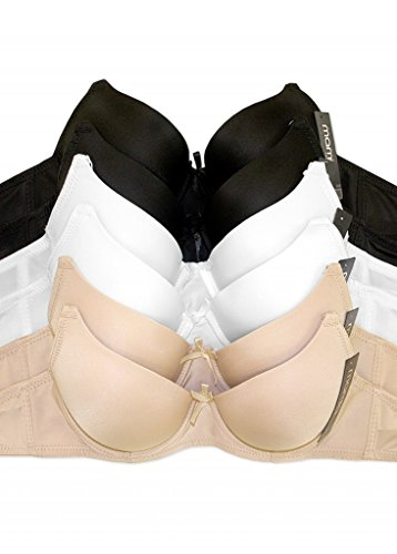 WHITE APPAREL Women's Basic Plain Bras (Packs of 6) - Various Styles