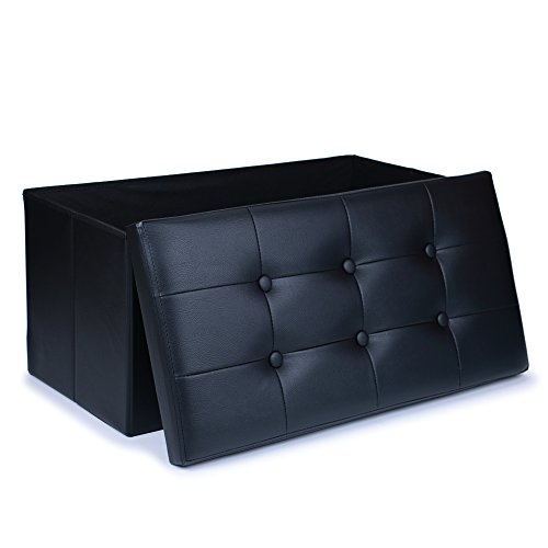 WoneNice Large Faux Leather Ottoman Folding Storage Pouffe Toy Box Foot Stool Seat 76x38cm (Black) (Room Seating)