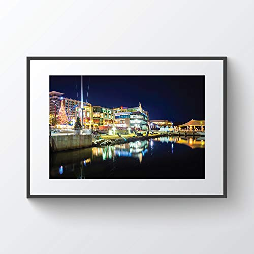 rfy9u7 Buildings Along The Potomac River Waterfront at Night in National Harbor Maryland Photo Print Plywood ()
