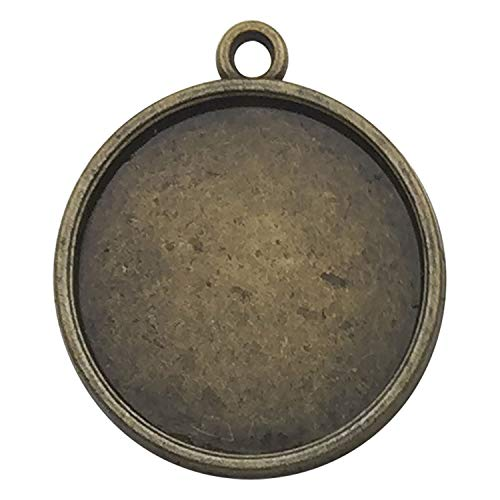 40pcs 20mm Round Pendant Trays, Single Sided, Antique Bronze Tone, Fit 20mm Cabochon, Blank Base Setting Bezel Frame Cameo -