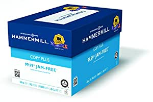 Hammermill Paper, Copy Plus, 20lb, 8.5 x 11, Letter, 92 Bright, 5,000 Sheets / Case (105007), Made in the USA