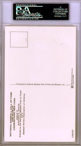 Warren Spahn Authentic Autographed Signed HOF Plaque Postcard #83963995 PSA/DNA Certified MLB Cut Signatures