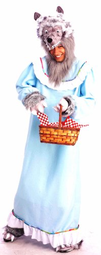 Big Bad Wolf In Grandma Dress Costumes (Forum Novelties Men's Adult Fairy Tales Granny Wolf Costume, Blue/Grey, Standard)
