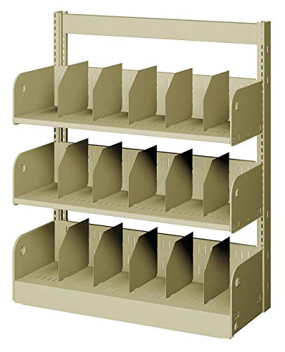 Shelving Face Starter - 36' x 10' x 42' Single Face Starter Divider Library Shelving with 3 Shelves, Ch/Putty