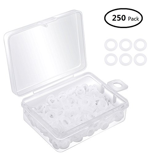 Dreamtop 250pcs Clear Rubber O-Ring Rubber Keyboard Dampeners with Plastic Storage for Mechanical Keyboard Cherry MX Key Switch
