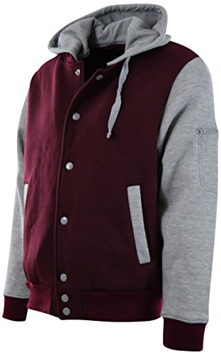 ChoiceApparel® Mens Baseball Varsity Jacket With Detachable Hoodie (XL, - 901 Shop