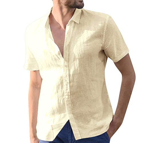 (Cardigo Mens Baggy Cotton Linen Solid Short Sleeve Button Retro T Shirts Tops Blouse Khaki)