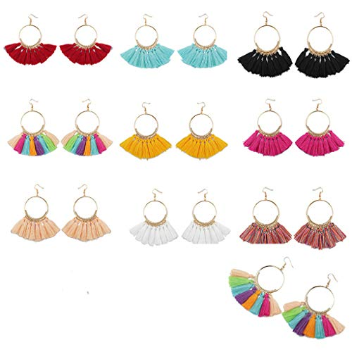 10 Pairs Tassel Hoop Earrings, Bohemia Fan Shape Drop Earrings Dangle Hook Eardrop for Women Girls Party Bohemia Dress Accessory (Multicolor)