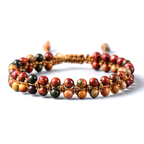 (Carolyn Jane's Jewelry Handmade Beaded Bracelet with Red Picasso Jasper Colorful Beads - Adjustable)