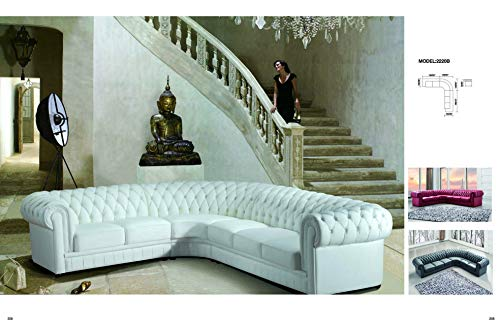 My Aashis Luxury Paris Transitional Tufted White Leather Sectional Sofa