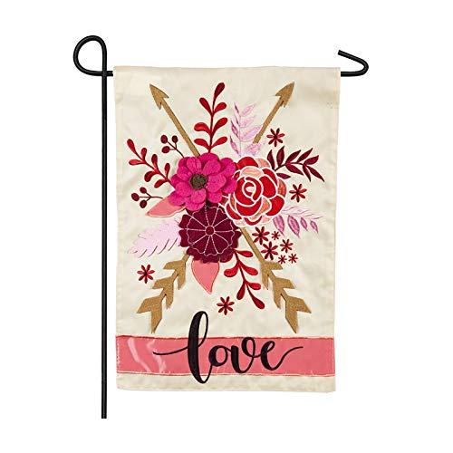 Evergreen Valentine's Love Applique Garden Flag