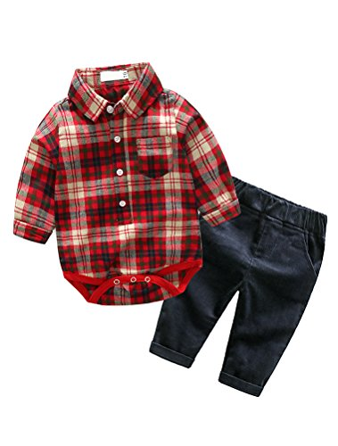(Baby Boy 2 Piece Pant Sets Long Sleeve Plaid Rompers Shirts+Long Pant Red 90)