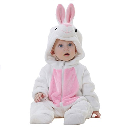 OSEPE Unisex-baby Flannel Romper Animal Onesie Pajamas Outfits Suit Rabbit Size80 -