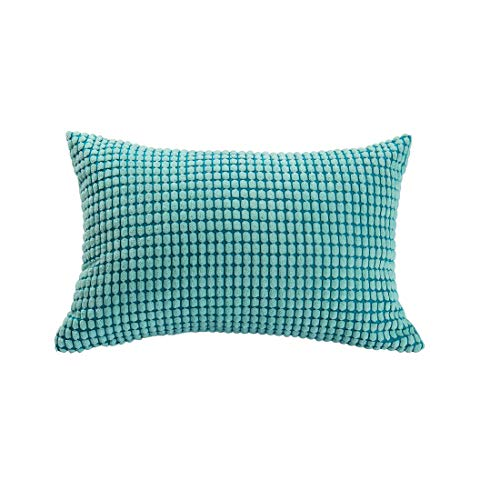 uxcell Throw Pillow Cover,Velvet Cushion Cover Comfortable Soft Corduroy Corn Striped Pillow Case for Couch Sofa Bed Car(12 x 18 Inch,Cyan) ()