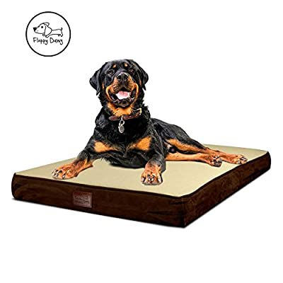 Floppy Dawg Large Orthopedic Dog Bed | Premium Memory Foam Dog Bed with Removable Cover and Water Resistant Liner | Solid 4 Inch Memory Foam Base | Ideal for Elderly and Arthritic Dogs 40 To 90 Pounds