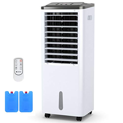 COSTWAY Evaporative Cooler, Portable Bladeless Air Cooler, Electric Fan & Humidifier with Remote Control, LCD Display, 3 Modes & 3 Speeds Air Conditioner for Indoor Home Office Dorms (40-Inch)