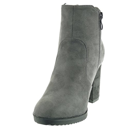 Ankle Women's Block Cavalier High Chelsea Boots cm Booty Heel 8 Fashion 5 Boots Angkorly Braided Shoes Grey tvdwtq