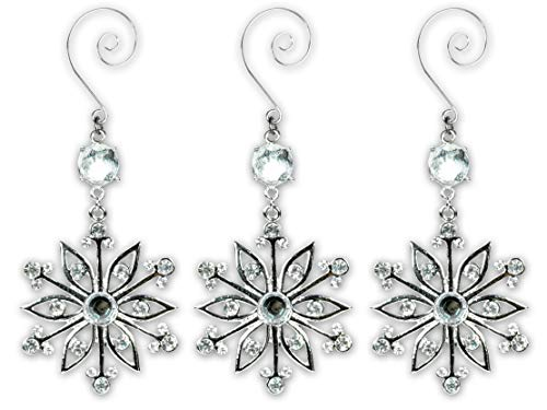 BANBERRY DESIGNS Snowflake Ornaments - Set of 3 Silver Metal and Jeweled Snow Flakes - Decorative Scroll Christmas Hooks Attached - Gift Boxed ()