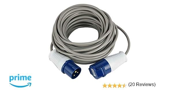 Adaptador de cable CEE para camping y caravanas I Conector de contacto de protecci/ón a acoplamiento CEE 35 cm de largo I H07RN-F 3G2,5 I 230 V 16 A 3 pines I 3.500 W I IP44 resistente a salpicaduras
