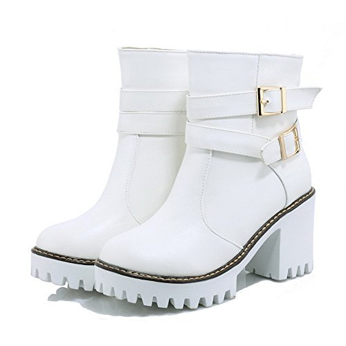 AgooLar Women's Low-top Solid Pull-on Round Closed Toe High-Heels Boots White orbmMr9g