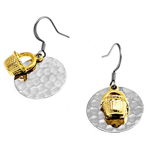 Nantucket Basket Drop Earrings and Hammered Floating Disc by Cape Cod Jewelry-CCJ