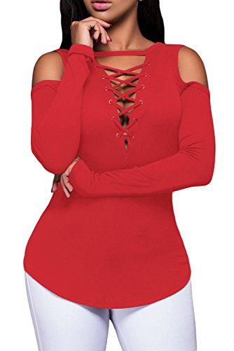 Alvaq Women's Sexy Long Sleeve Gathered Detail V Neck T-shirt Blouse Tops