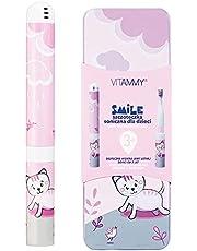 VITAMMY Smile kotek Szczoteczka soniczna dla dzieci, do zębów mlecznych dla dzieci 3+ z etui, wzory zwierzątek