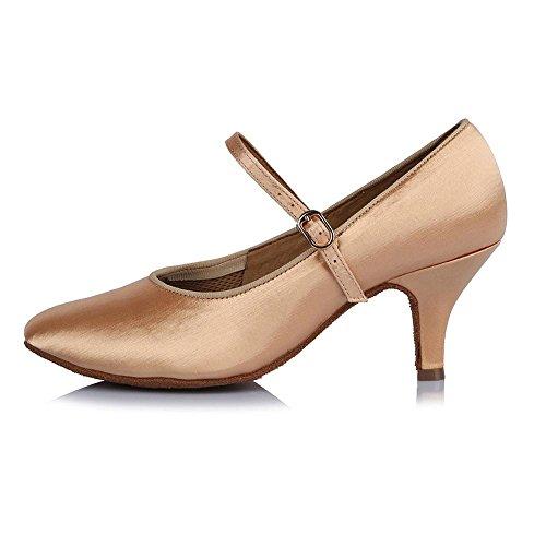 YFF Toe fermé professionnel Chaussures de Danse Moderne de bal en cuir Chaussures de Danse Tango Salsa Party danse latine Chaussures femmes filles ,63mm 30604,6.5