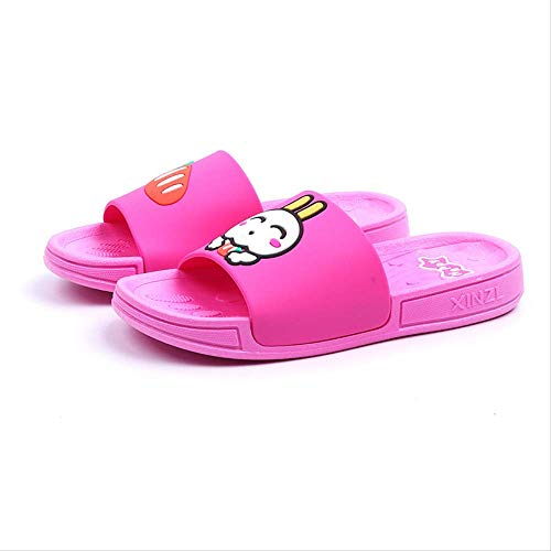 Flip flops for womenChildren's Slippers Summer Cartoon Radish Rabbit Boys And Girls Home Soft-bottomed Children's Shoes 150 length 14 cm 1526-radish rabbit rose red