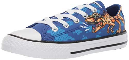 Converse Unisex Kids' Chuck Taylor All Star Dinoverse Low Top Sneaker, Blue/Black/White, 12.5 M US Little ()
